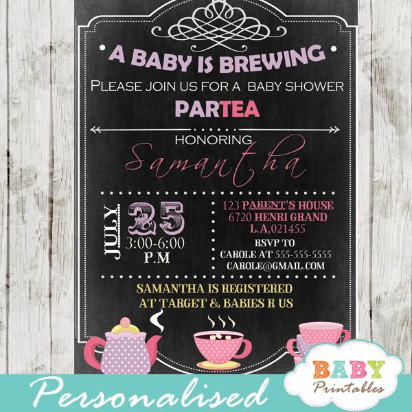 A Baby Is Brewing Tea Baby Shower Invitation D157 Baby Printables Baby Shower Tea Tea Party Baby Shower Baby Shower Invitations