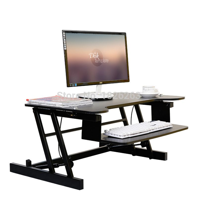 Vevor Height Adjule Standing Desk Riser Dual 2 Monitor X 20 Inch Sit Stand Up Elevating Desktop With Built In Keyboard Tray