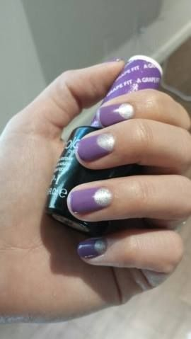 silver and lavender half moon nails by rachelle joseph