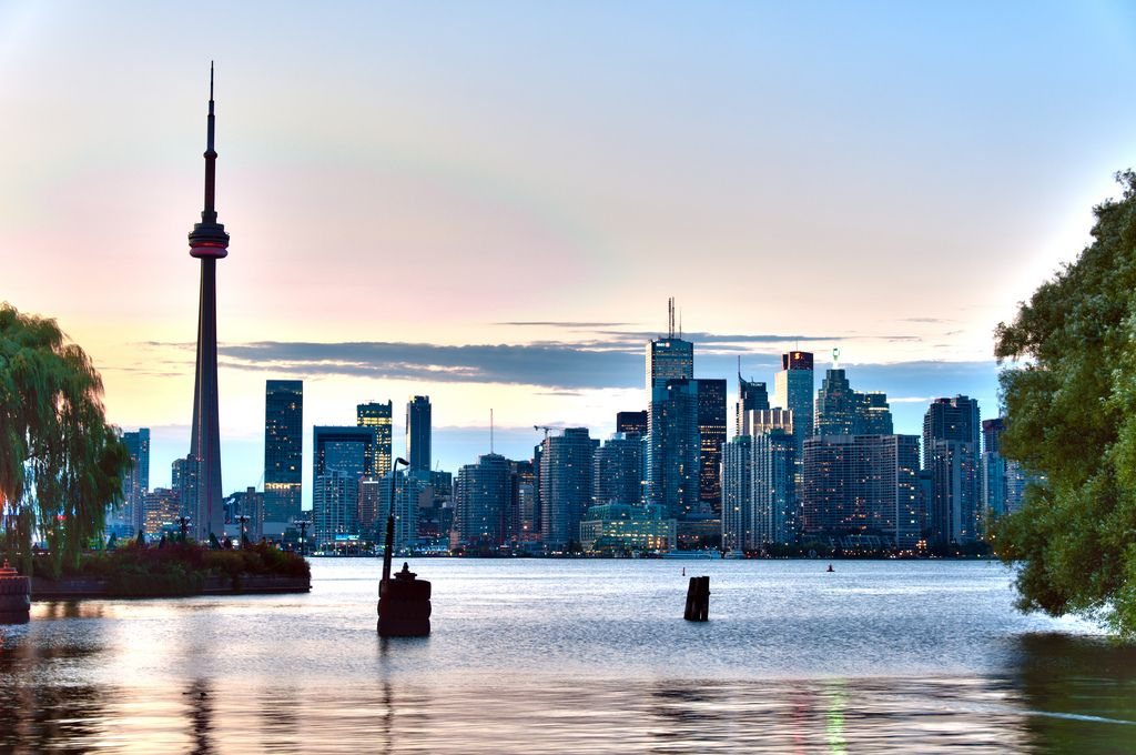HDR shot of Toronto (CA) Skyline from Toronto Islands at dust.