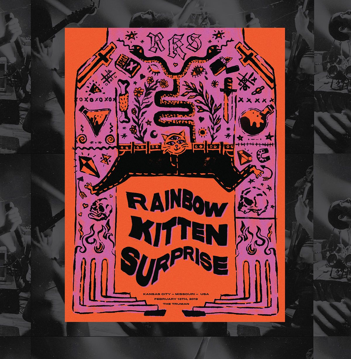 Rainbow Kitten Surprise Gig Poster On Behance Rainbow Kittens Rainbow Kitten Surprise Kitten Surprise