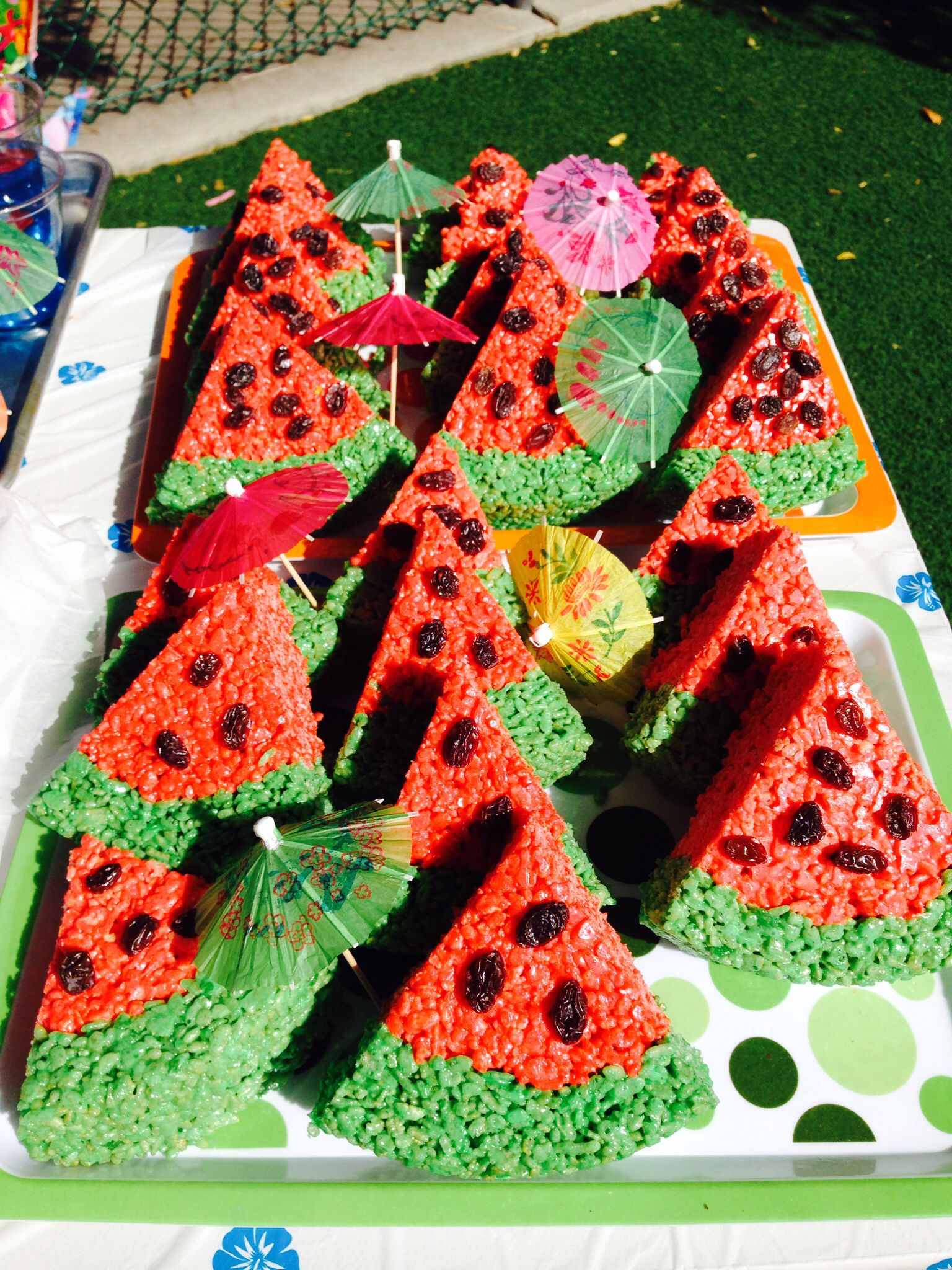 Rice crispy treat watermelons!! Cherry jello as food coloring ...