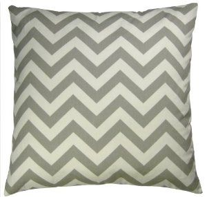 JinStyles Cotton Canvas Chevron Striped Accent Decorative Throw Pillow Cover (Grey and White, Square, 1 Cover for 18 x 18 Inserts)