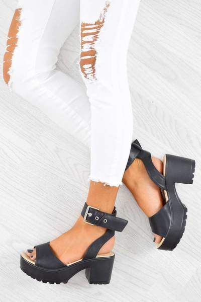 7862e0bba081 MOVE IT Chunky Platform Buckle Sandals - Black PU