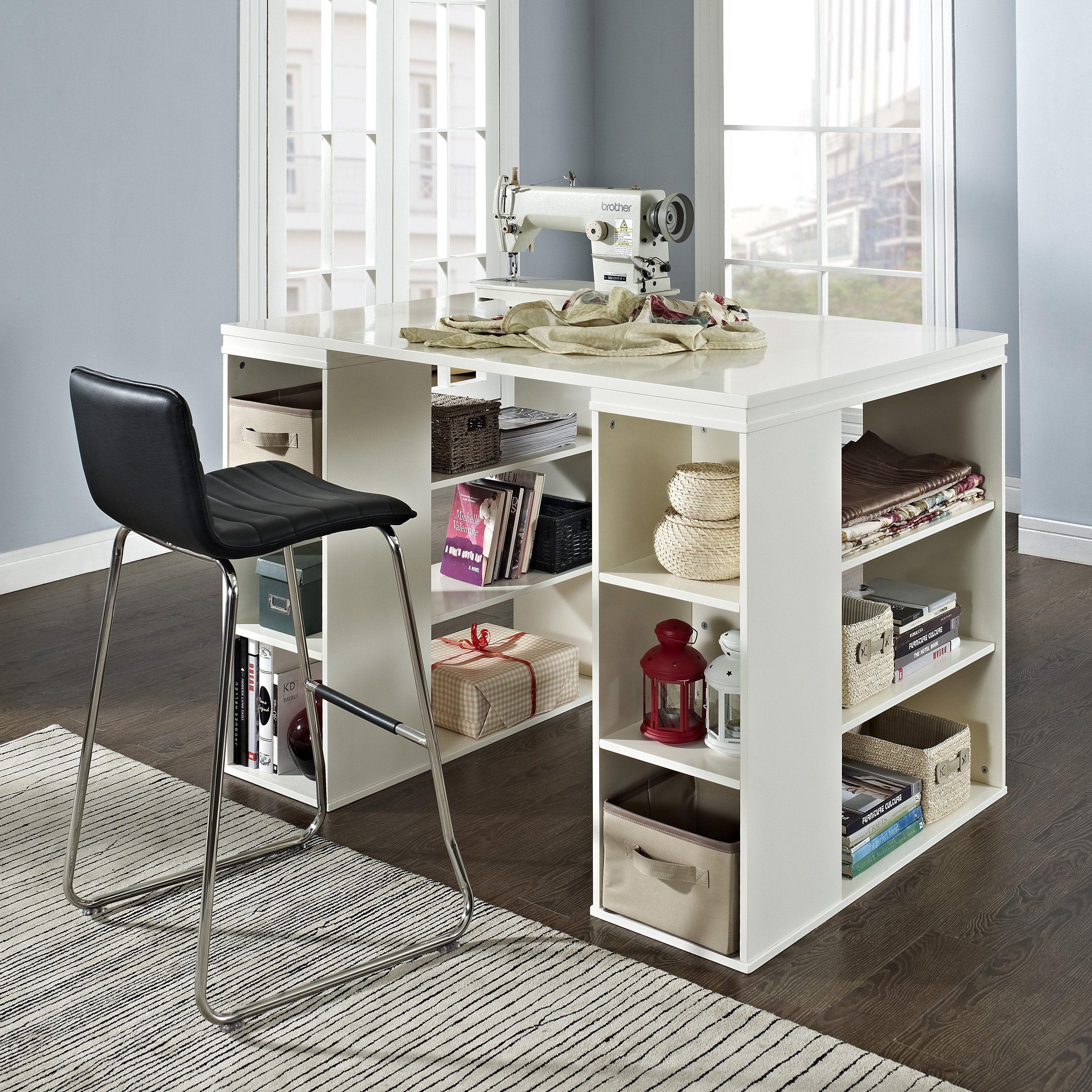 Sullivan Counter Height Craft Table Vanilla Www Hayneedle Com Counter Height Desk Craft Tables With Storage Craft Table