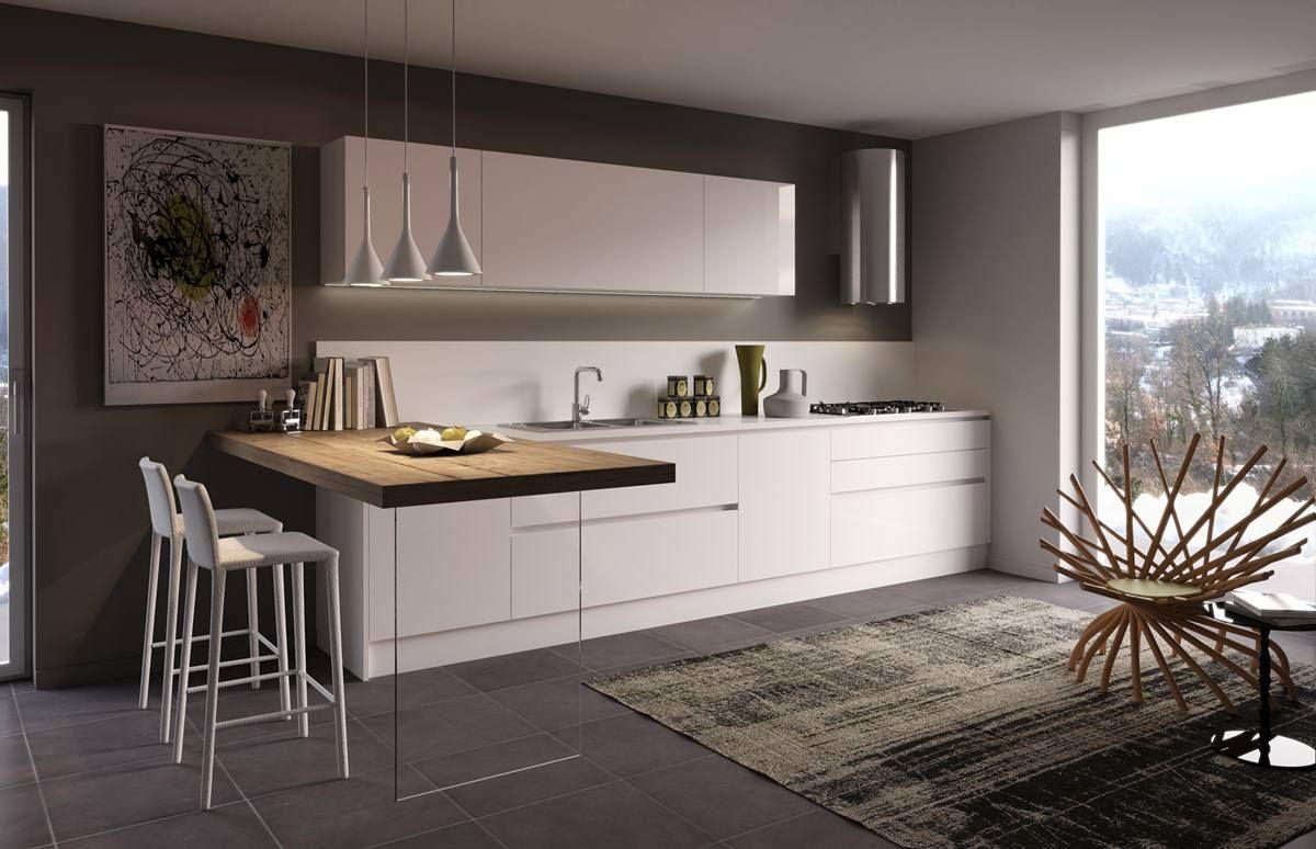 Cucina GL20 laccata bianco lucido con snack in legno e gamba ...