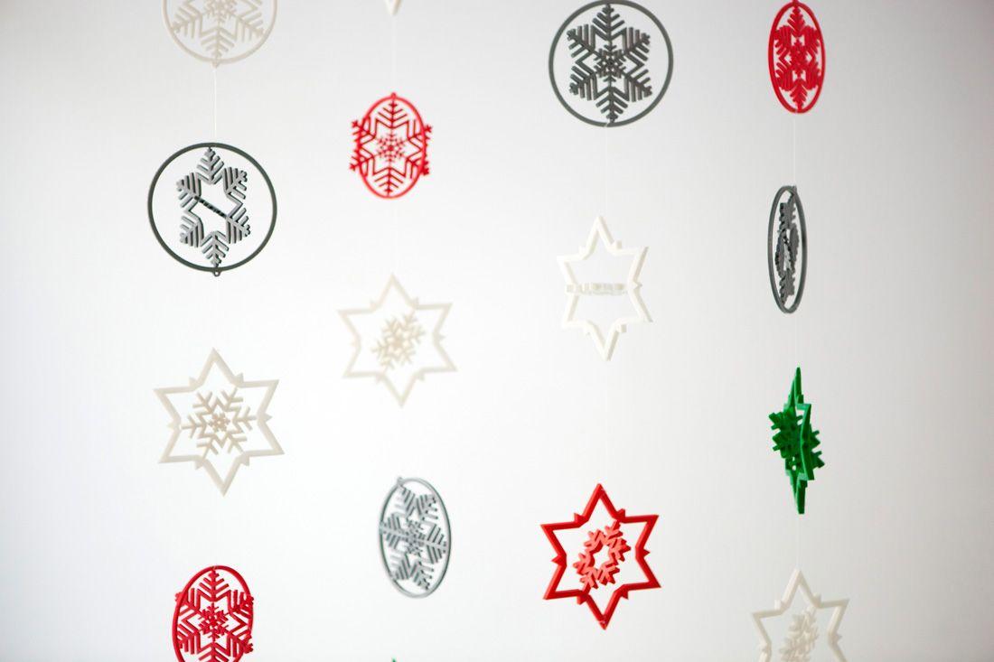 3D Printed Snowflake Garland