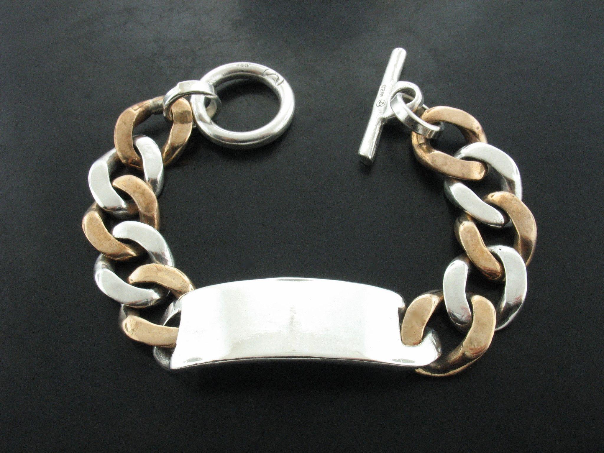 Sterling silver id double tone curb link bracelet link bracelets