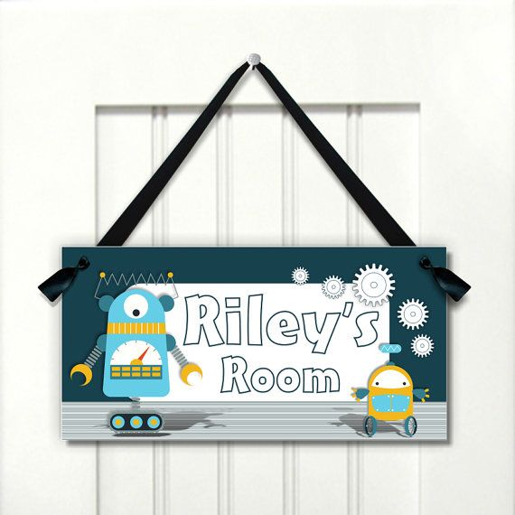 Custom Robot Themed Kids Door Sign Boys Bedroom Door Plaque Etsy Kids Door Signs Door Signs Boys Door Signs