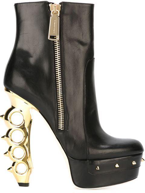 Boots, Black leather boots, Platform boots