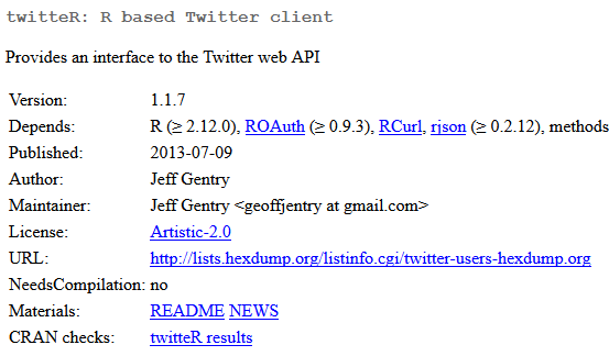 twitteR - R package for accessing the twitter API  | Collecting Data