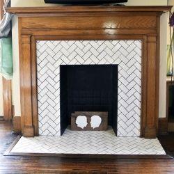 herringbone tile fireplace fireplace