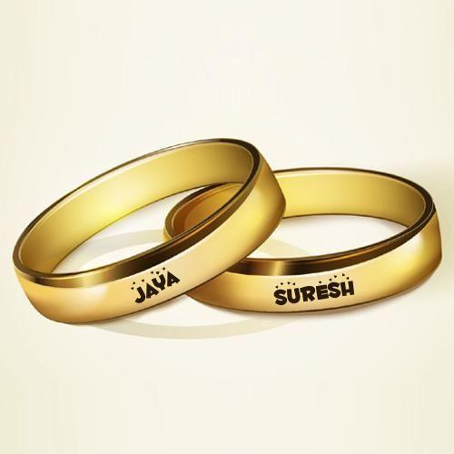 Write Couple Name On Golden Rings For Wedding Sureshjaya