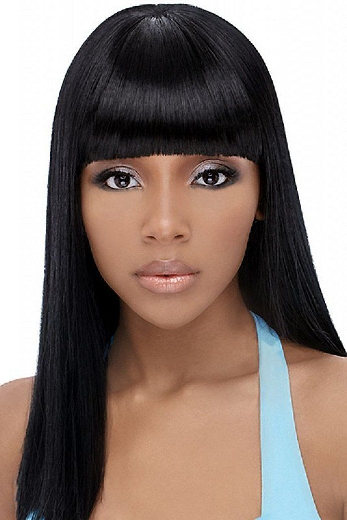 Cute Long Straight Hairstyles For Thin Hair With Bang For Black