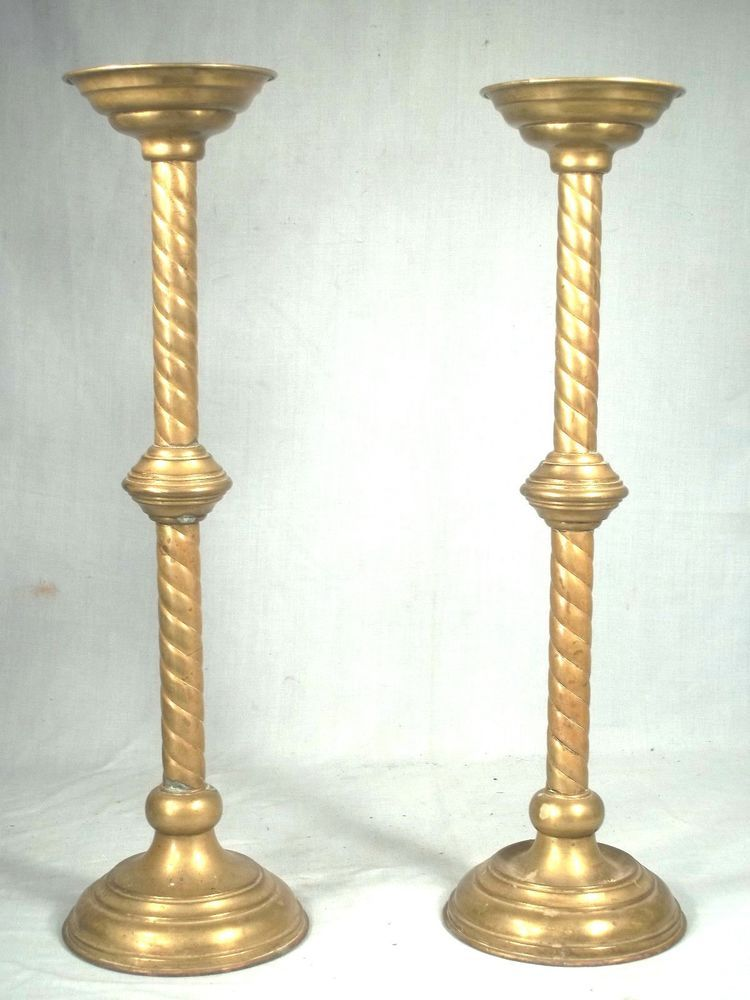 Vintage very tall, heavy solid brass church candlesticks 17ins high