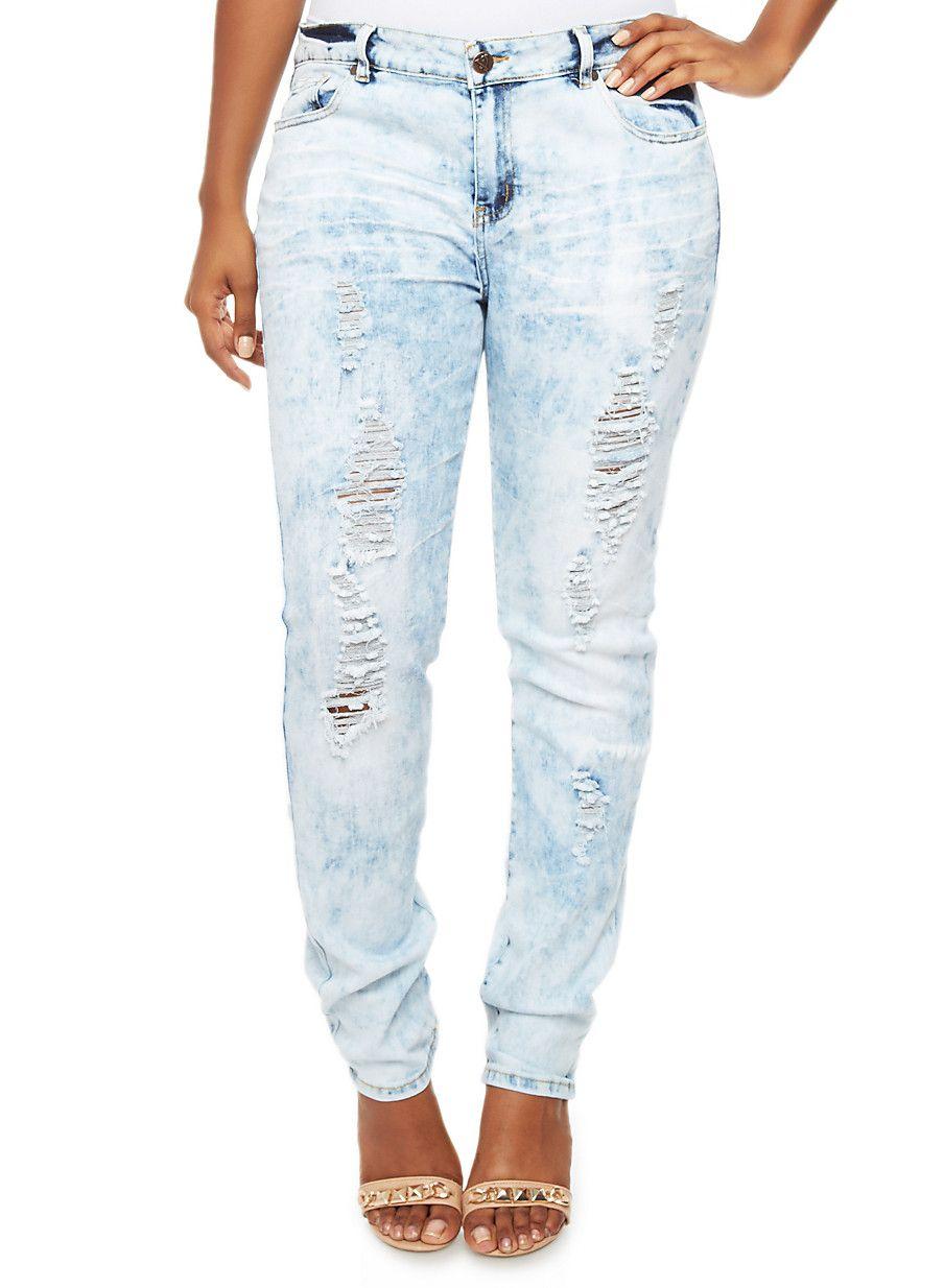 3c488d61c3 Rainbow Shops Plus Size Light Cloud Wash Jeans with Distressed Details   27.99