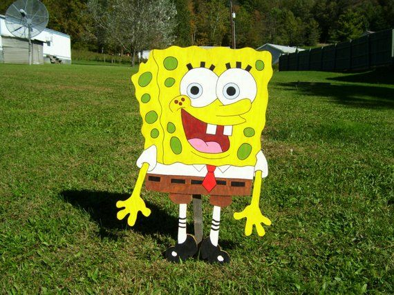 Sponge Bob Square Pants Outdoor Wood Yard Art Lawn Decoration is part of lawn Square Yards - 2 inch high quality plywood and painted with acrylic craft paint  Please note, my yard displays may vary from pictures, they are handmade no two items will be exactly the same so there may be slight variances in color Each piece is hand drawn and hand cut then they are Sanded, Painted and Sealed with allweather resistant sealer to help against weather conditions Painted White on backside All yard displays come with yard stakes Once ordered, it normally takes up to 3 to 4 weeks to have ready for pickup, delivery or shipping  But during the holiday seasons it could take longer   Please Note only ships within United States All copyrights and trademarks of the character or characters images are reserved to their respectful owners  This item is not a licensed product, I am not, nor in any way affiliated with and do not claim ownership of the characters used in my own paintings and or designs  Order early  Made to order