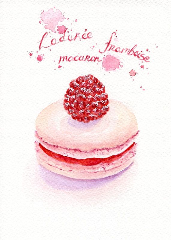 Original Painting Raspberry Macaron Sweet Por Forestspiritart