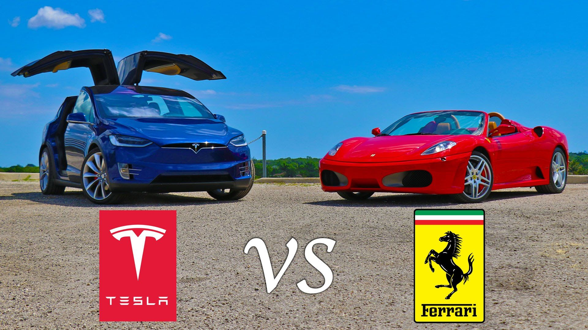 Tesla Model X P90d Ludicrous Vs Ferrari F430 Drag Racing And Roll Racing Tesla Model X Ferrari F430 Spider Tesla