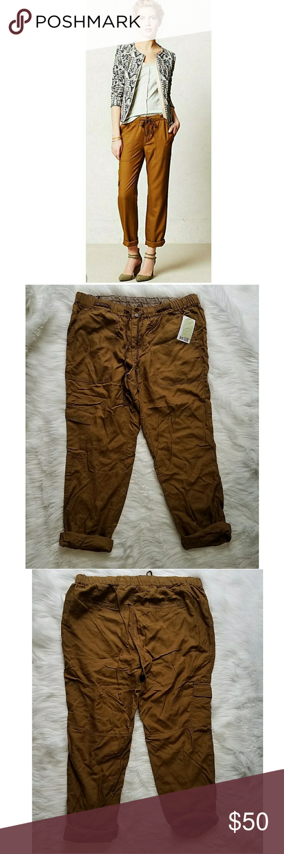 Hei Hei brown drawstring pants New with tags. Comfortable and cool. Length 39 inches uncuffed, inseam 28 inches, waist 16 inches C6 Anthropologie Pants Trousers