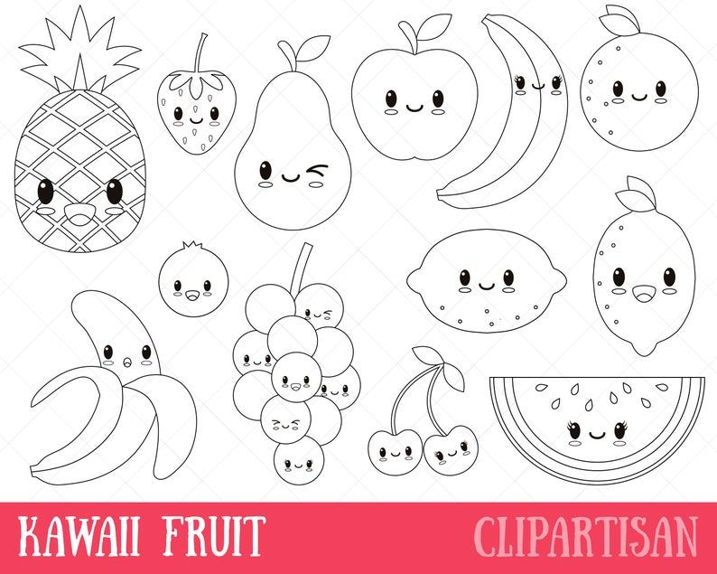 Kawaii Fruit Digital Stamp Vector Graphics And Coloring Page In 2021 Fruit Coloring Pages Kawaii Fruit Cute Coloring Pages
