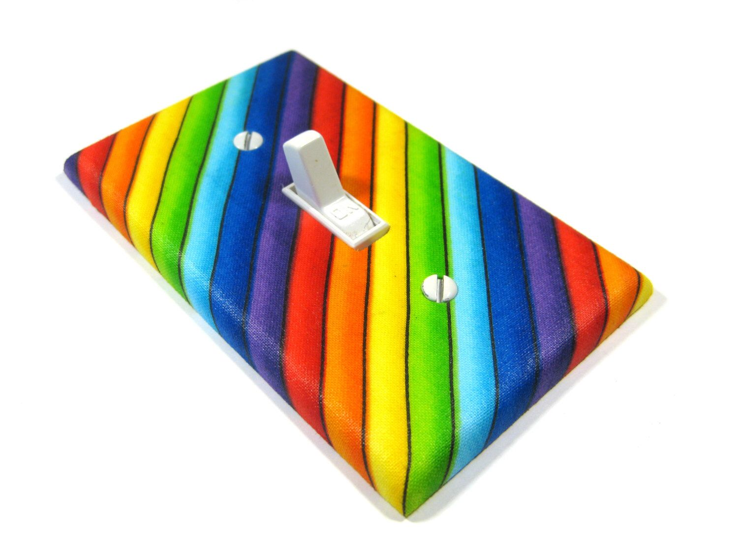 Diagonal Rainbow Stripes Light Switch Cover Rainbow Decor Gay Pride  Decoration Bright Home Decor 1214 By