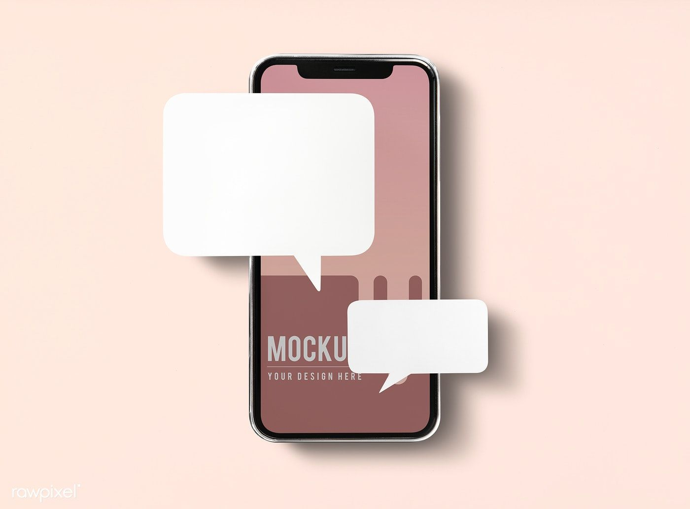 Chat messaging on mobile phone mockup free image by