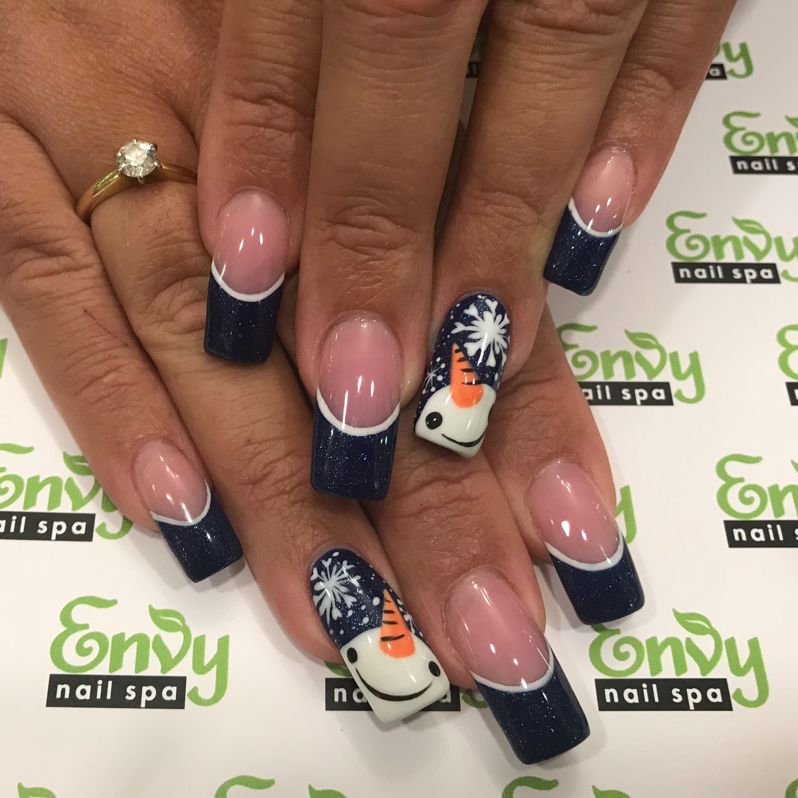 Snowman, Snowflakes, Winter, Blue Glitter Nails - Envy Nail Spa ...