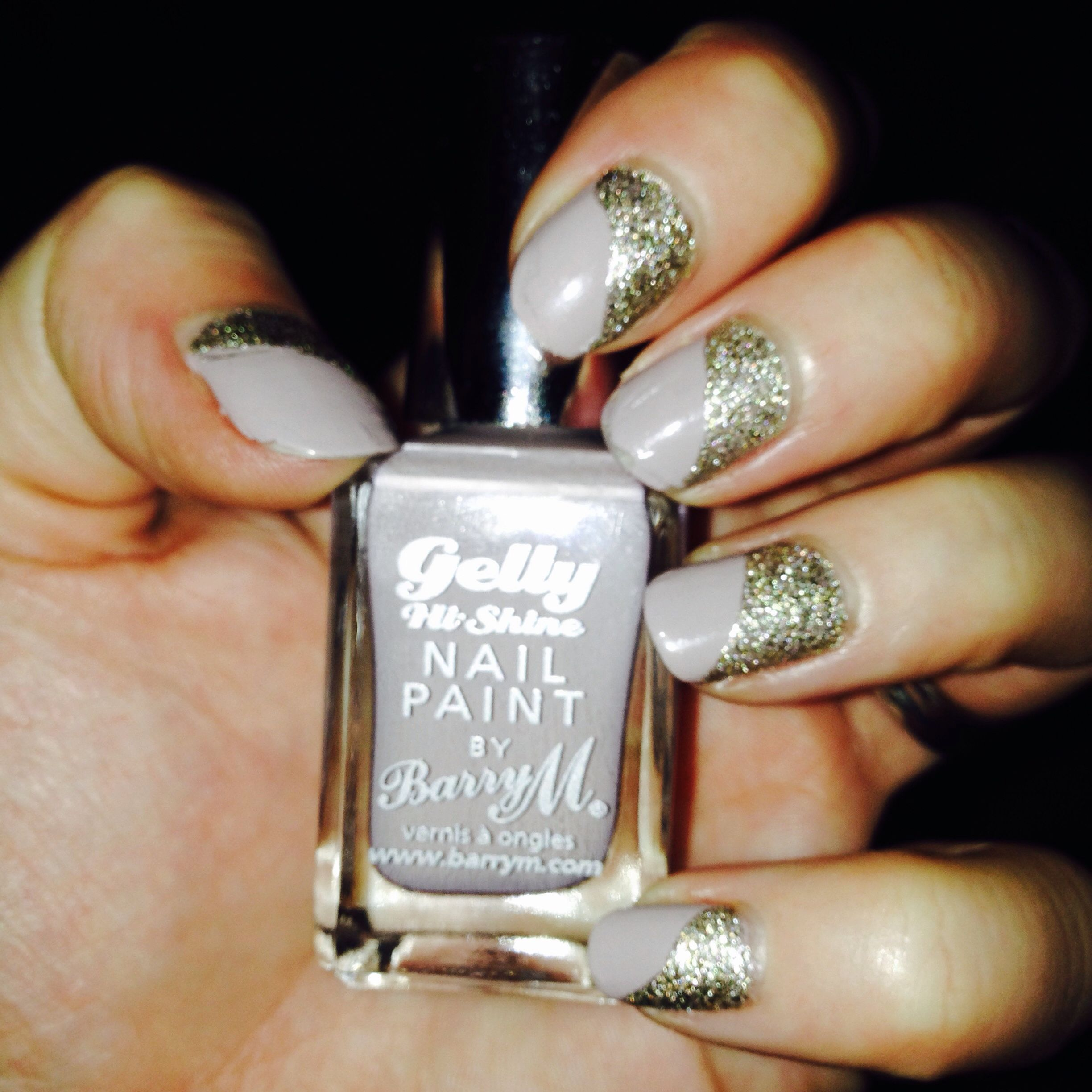 Sparkle: taupe manicure with gold glitter cuticle nail art | Nails ...