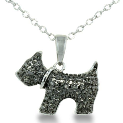 Adorable Black Diamond Figaro Dog Necklace in Sterling Silver - http://www.thepuppy.org/adorable-black-diamond-figaro-dog-necklace-in-sterling-silver/