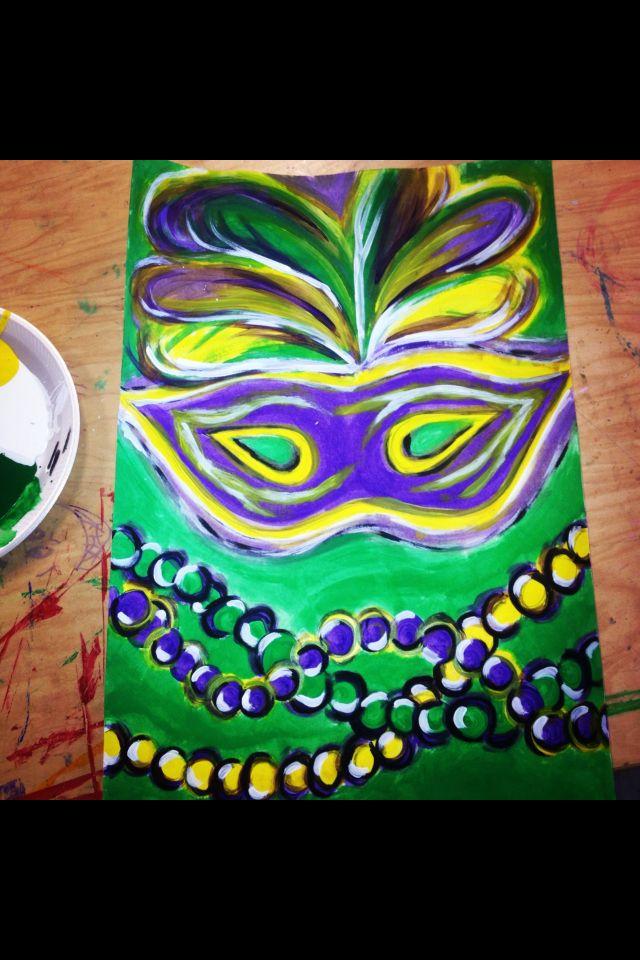 Diy Mardi Gras Painting Canvas Canvas Painting Camping Art Painting