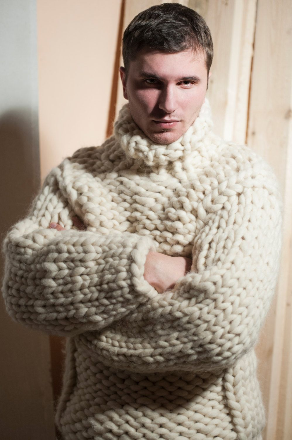 Super Chunky Knit Men S Sweater Big Knit Turtleneck