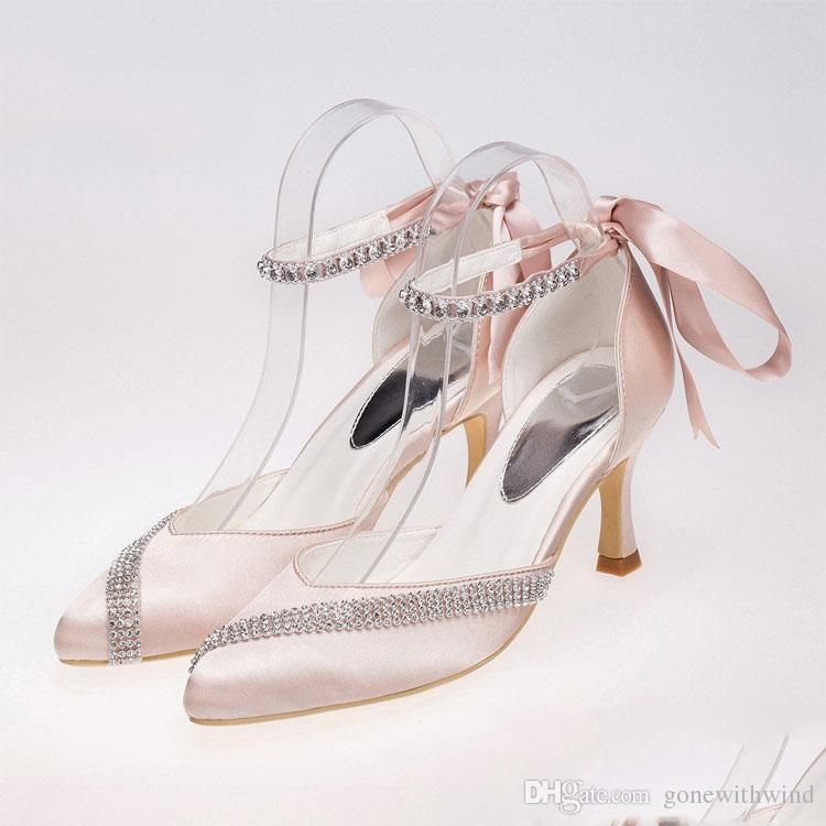 White Pumps Crystal Satin Heels Peep Toe Ivory Women Wedding Dresses Bride High