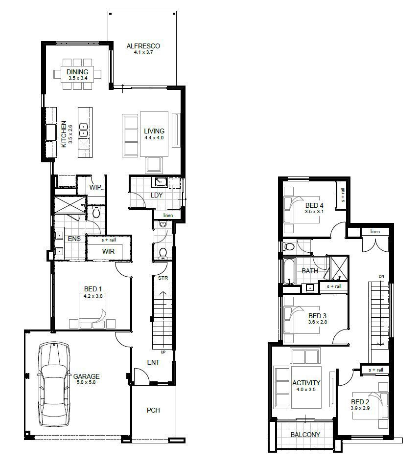 Two Storey Home Designs Apg Homes Narrow House Plans Two Storey House Plans 4 Bedroom House Designs