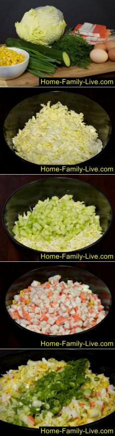 Салат из крабовых палочек с огурцом - пошаговый фоторецептКулинарные рецепты
