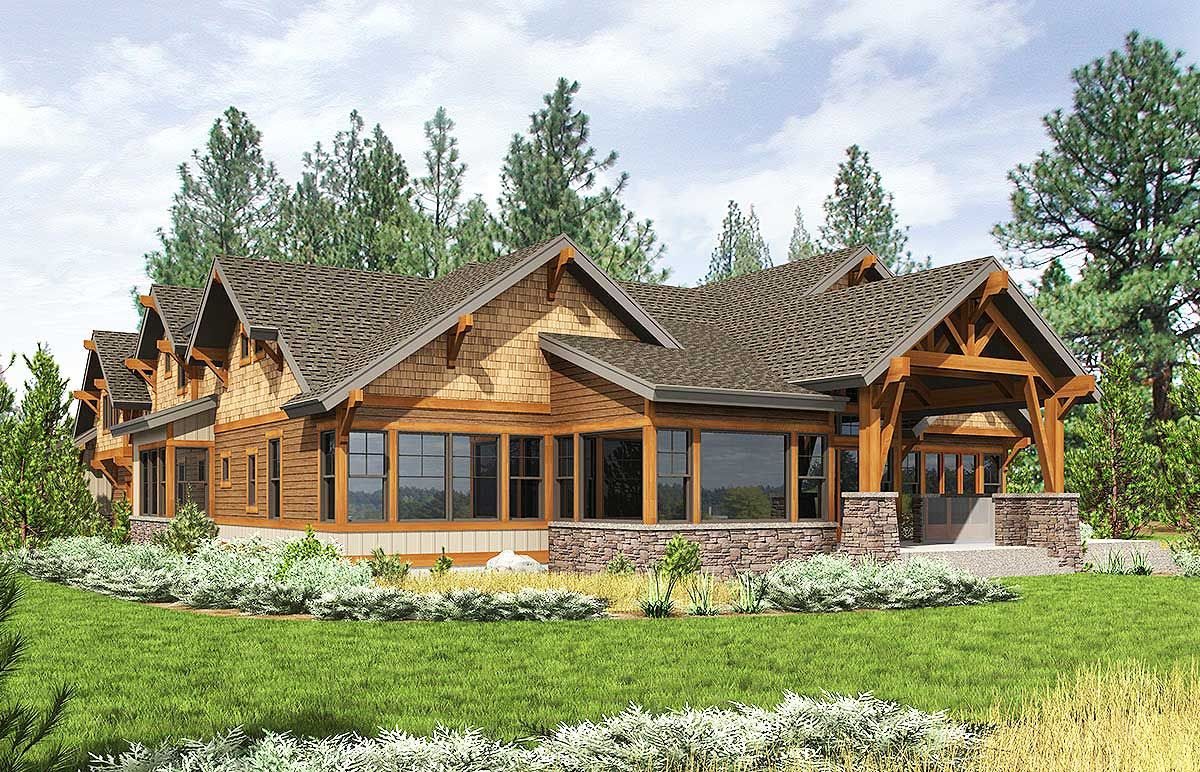 High End Mountain House Plan with Bunkroom