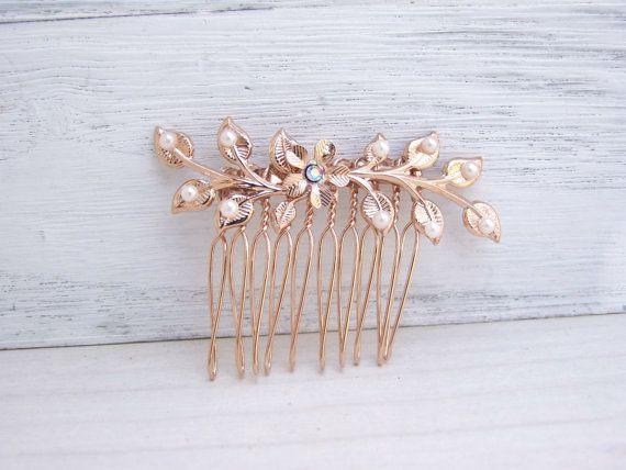 Peigne à cheveux or rose bijoux de cheveux de par YaelSteinberg
