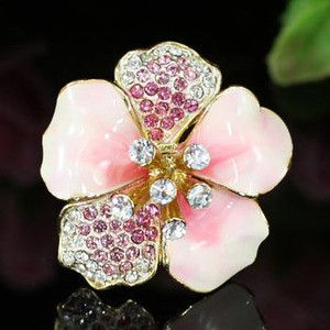 Pink Ceramic Flower Austrian Crystal Ring