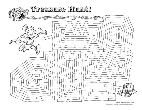 Treasure Hunt Maze Illustrated by Tim van de Vall  Mazes