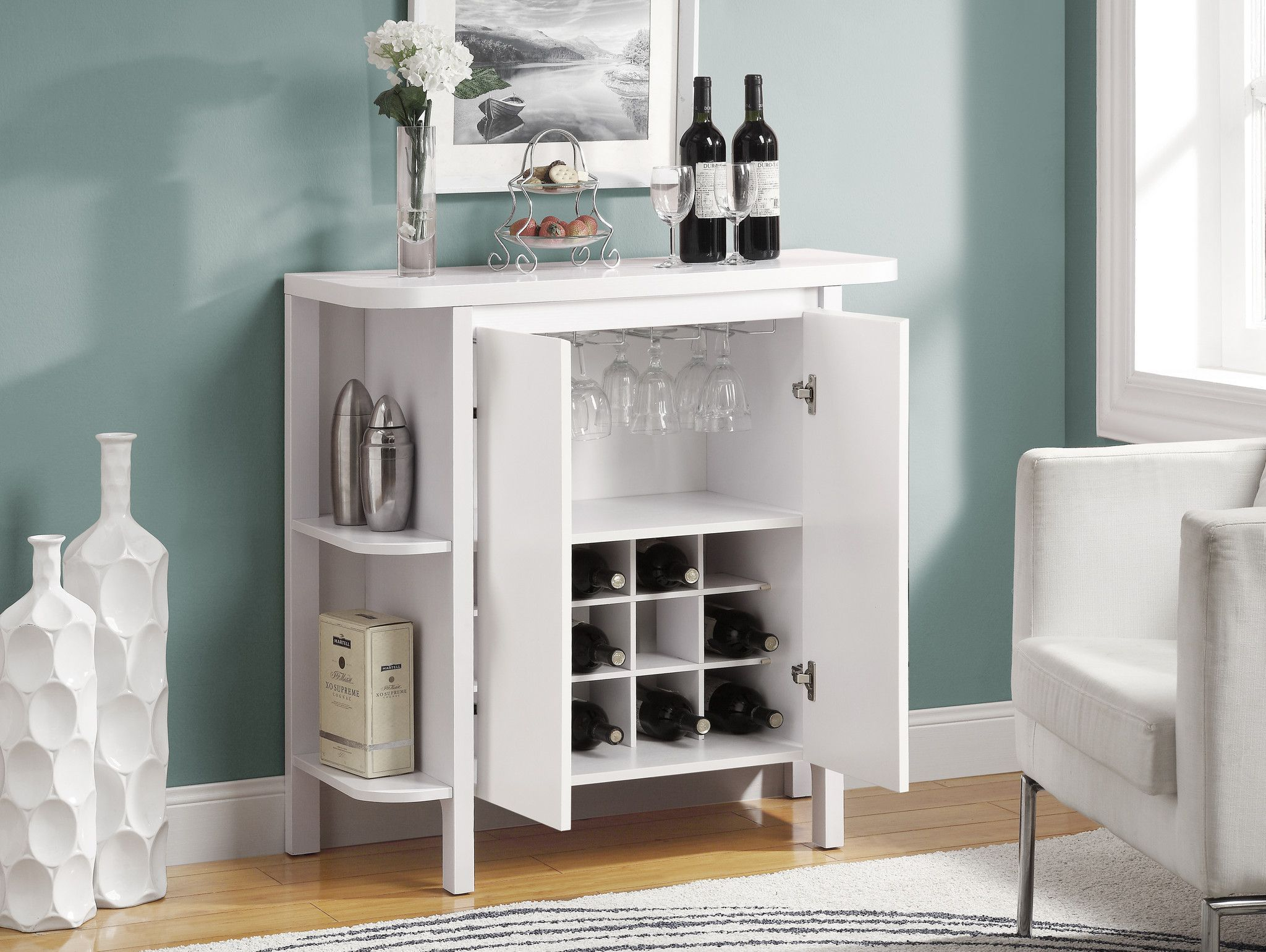 Home Bar 36 H White With Bottle And Gl Storage In