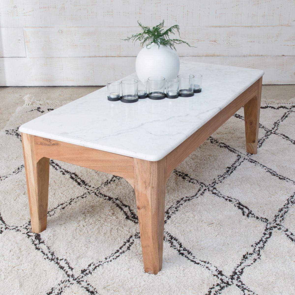 Table Basse Manguier Fonce Et Marbre Blanc B45 Taille Taille Unique Table Basse Marbre Blanc Table Basse Marbre Blanc