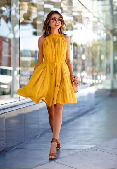 29f2e1712c Yellow One Piece Fashion Sleeveless Party Dress With Belt Ladies Casual  Beach Dresses