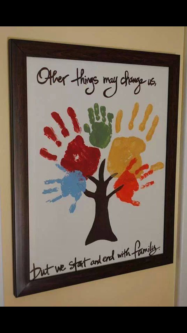 Family Handprint Tree Toddler Hands Parents Kids Siblings Gift Framed Canvas Wall Art Hanging Home House Create DIY Paint Easy
