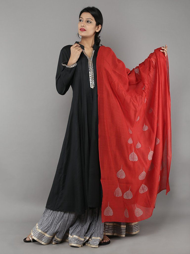 Black Anarkali with Grey Ghagra and Red Dupatta - Set of 3 ...