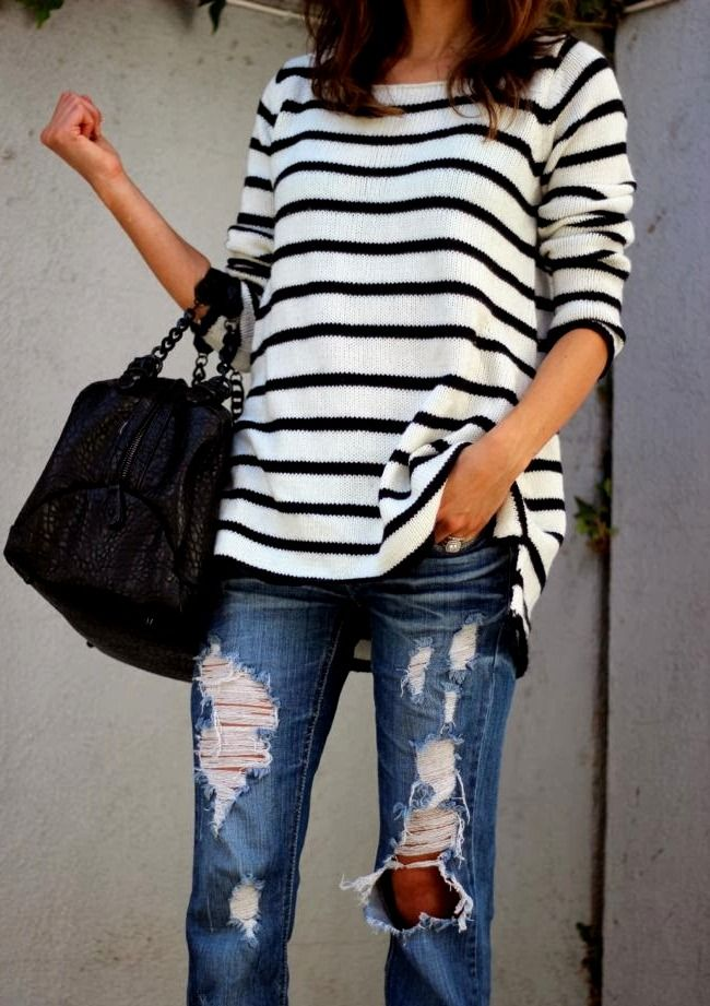 slouchy striped top + destroyed denim. want these pants!