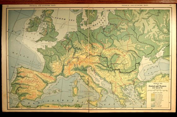 Vintage Topographic Map Europe Physical By VintageBooksPaper - Europe terrain map