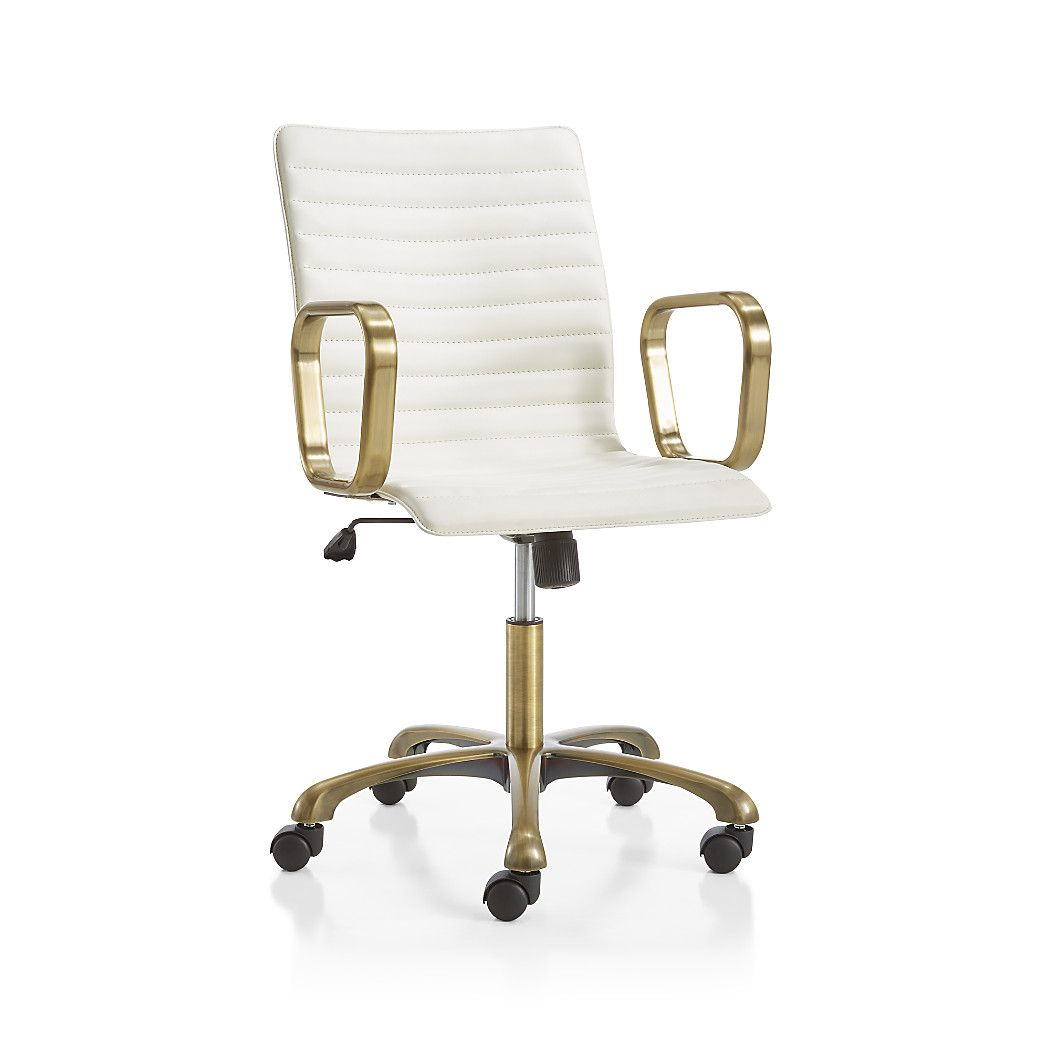 Ripple Ivory Leather Office Chair With Br Frame Accented Sleek Steel Arms