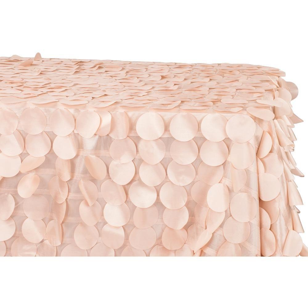 90 X156 Petal Circle Taffeta Rectangular Tablecloth Blush Rose