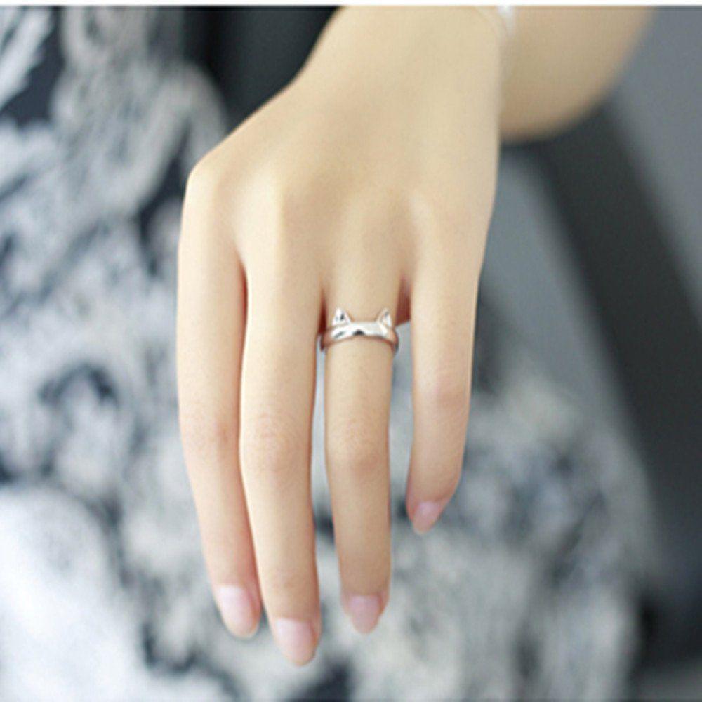 Silver Cute Rabbit Bunny Opening Finger Rings for Women Jewelry Girls Children
