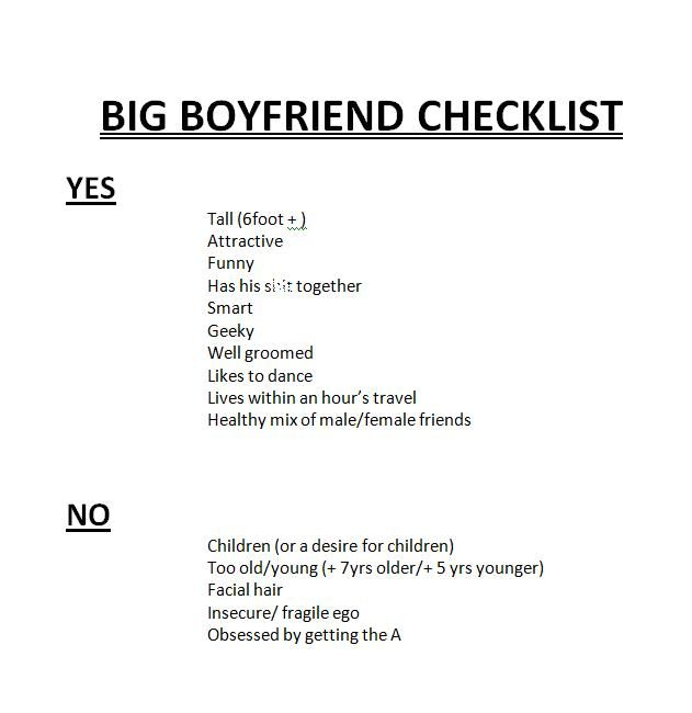Creating A Checklist To Match Potential Suitors Against   So
